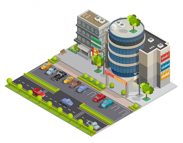 Composição isométrica do street view do shopping center Vetor grátis