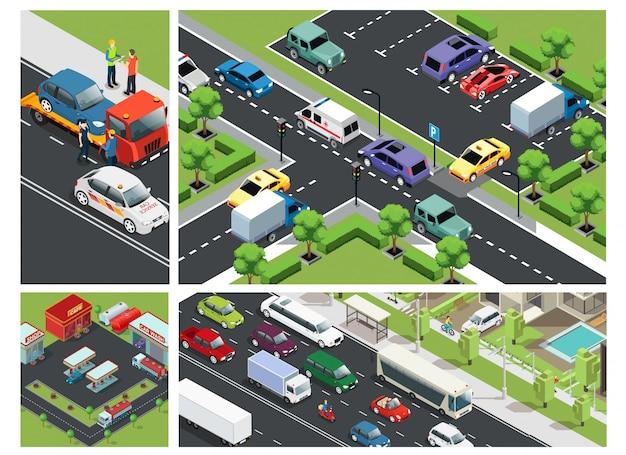 Composição isométrica do tráfego urbano com carros em movimento no estacionamento, construção de posto de gasolina e assistência na estrada Vetor grátis