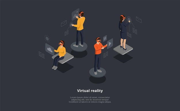 Composição isométrica do vetor de realidade virtual. personagens de desenhos animados 3d usam fone de ouvido com interface de toque. grupo de pessoas verificando e-mails, procurando fotos, músicas online Vetor Premium