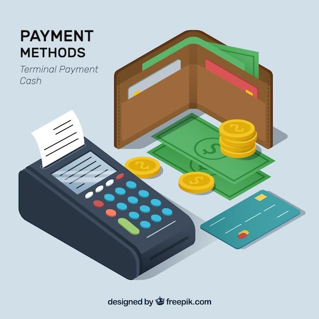 Composição isométrica dos métodos de pagamento Vetor grátis