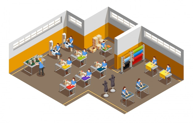 Composição isométrica interior de fábrica de roupas Vetor grátis