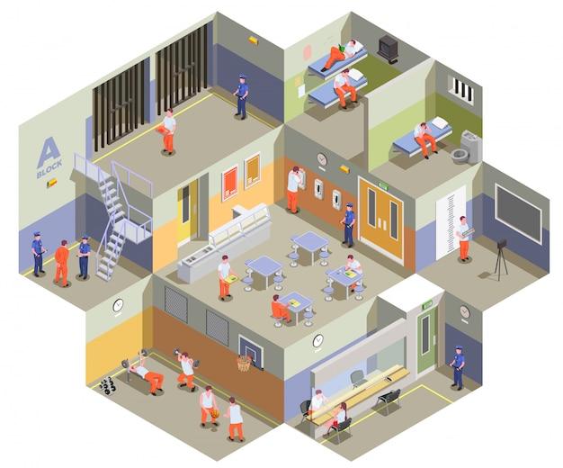 Composição isométrica interior de prisão de prisão com prisioneiros na academia de cantina de celas e ilustração da área de visitação Vetor grátis