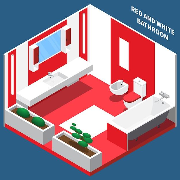 Composição isométrica interior de quarto de banho Vetor grátis
