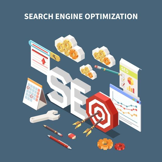 Composição isométrica web seo isolada com manchete de otimização de mecanismo de busca e diferentes elementos na ilustração ar Vetor grátis