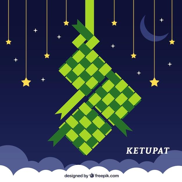 Composição ketupat tradicional com deisgn plana Vetor grátis