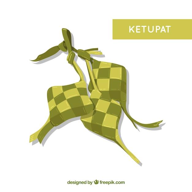 Composição ketupat tradicional com design plano Vetor grátis