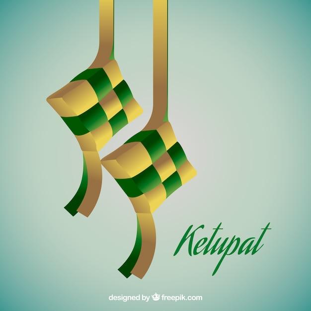 Composição ketupat tradicional realista Vetor grátis