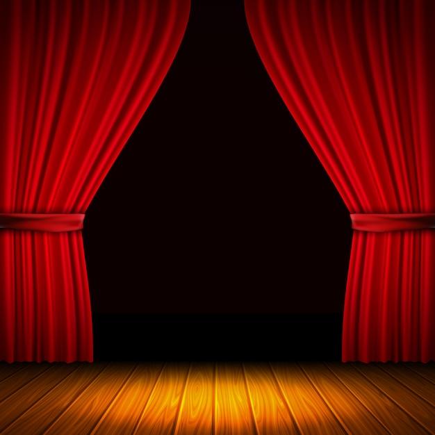 Composição moderna com cortina vermelha luz e sombra no meio de cortinas e ilustração vetorial de piso de madeira Vetor grátis