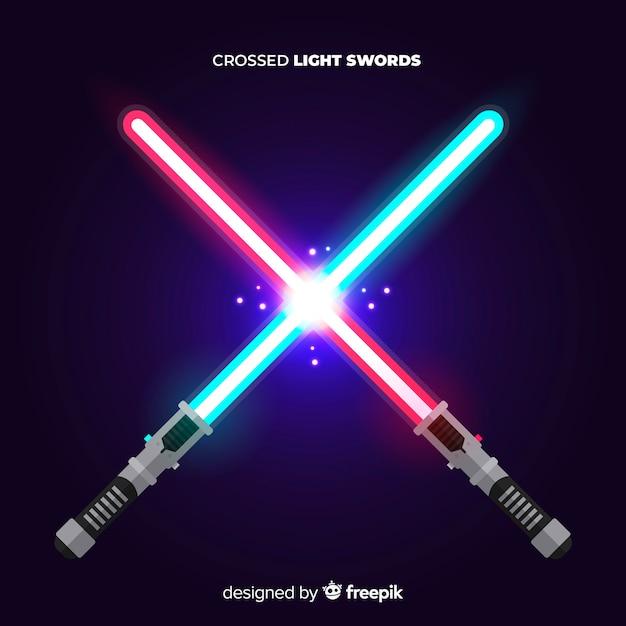 Composição moderna com duas espadas de luz cruzadas Vetor grátis