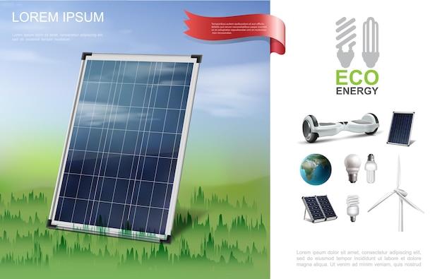 Composição moderna de energia ecológica realista com painel solar no giroscópio da floresta ilustração do moinho de vento das lâmpadas do planeta terra Vetor grátis