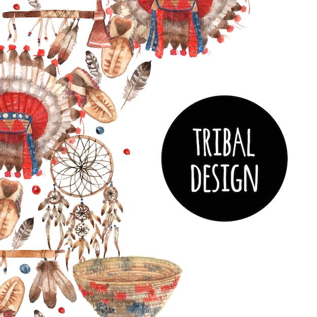 Composição ornamental de objetos simbólicos nativos americanos Vetor grátis