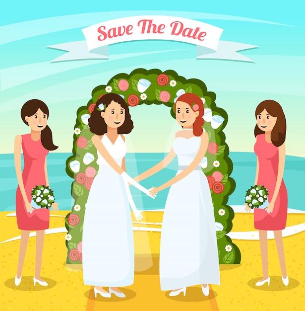 Composição ortogonal colorida dos povos do casamento Vetor grátis