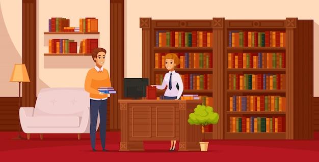 Composição ortogonal plana da biblioteca com o bibliotecário, auxiliando o leitor no balcão de serviço em frente às estantes Vetor grátis