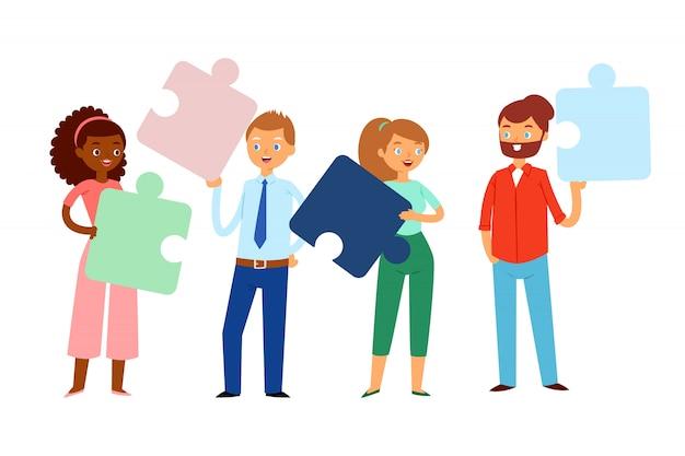 Composição, pessoas segurando enigmas em suas mãos, equipe de negócios conceito brilhante, ilustração dos desenhos animados. Vetor Premium