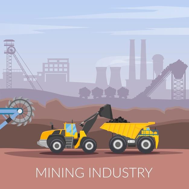 Composição plana da indústria de mineração Vetor grátis