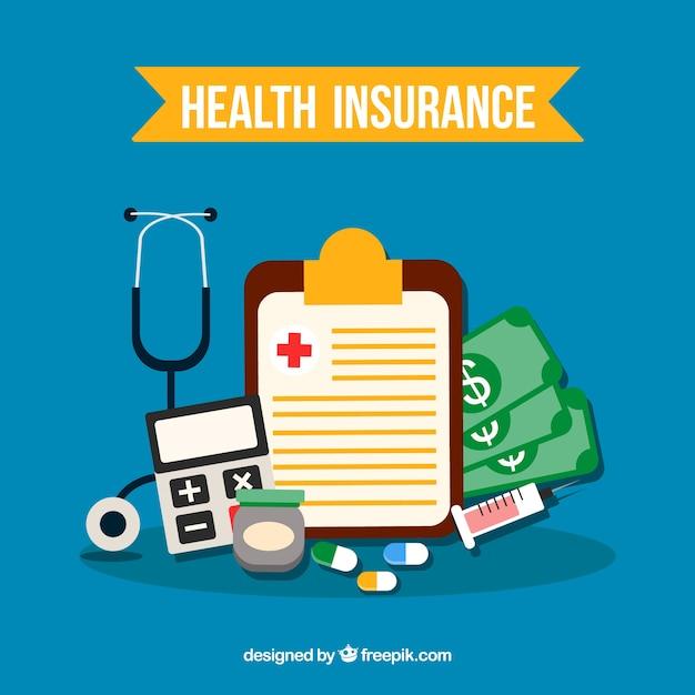 Composição plana de objetos de seguro de saúde Vetor grátis