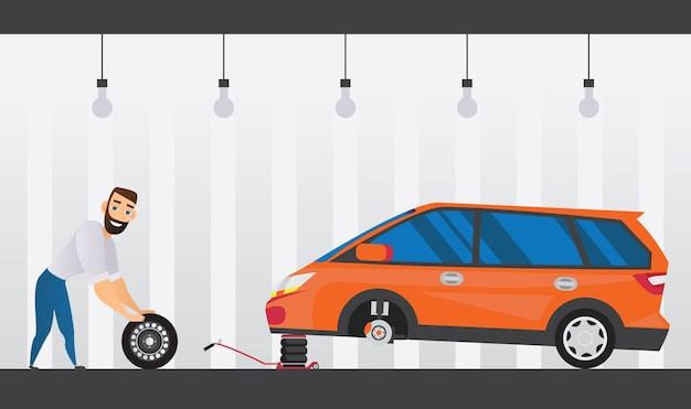 Composição plana de serviço de carro com técnico trocando a roda Vetor grátis