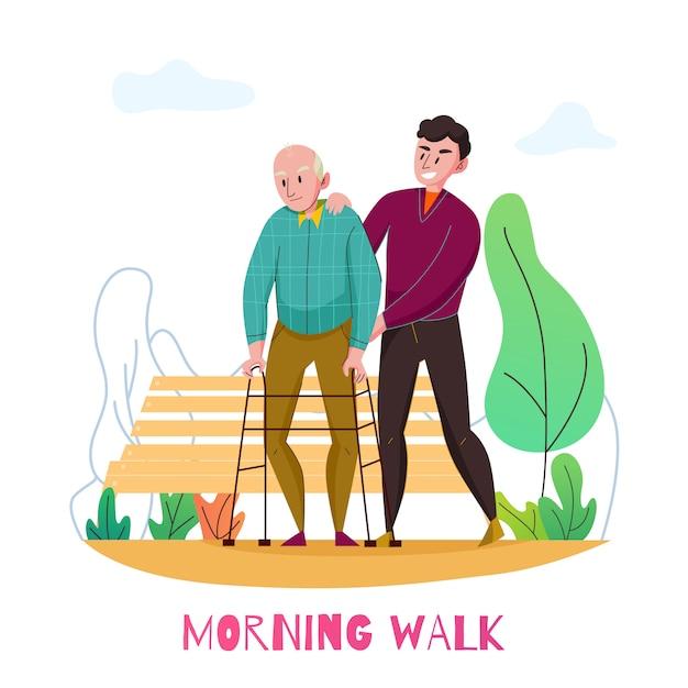 Composição plana do berçário casa assistência diária a idosos com caminhada de manhã com deficiência velho com ilustração vetorial voluntário Vetor grátis