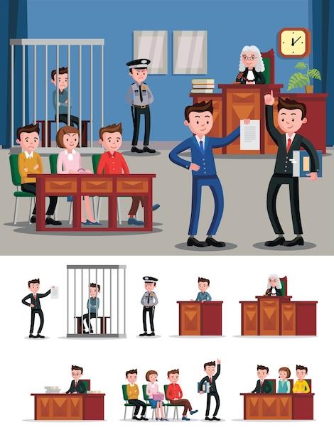 Composição plana do sistema jurídico Vetor grátis