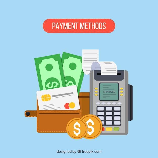 Composição plana dos métodos de pagamento Vetor grátis