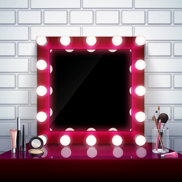 Composição realista com maquiagem rosa espelho cosméticos e pincéis na ilustração vetorial de mesa Vetor grátis