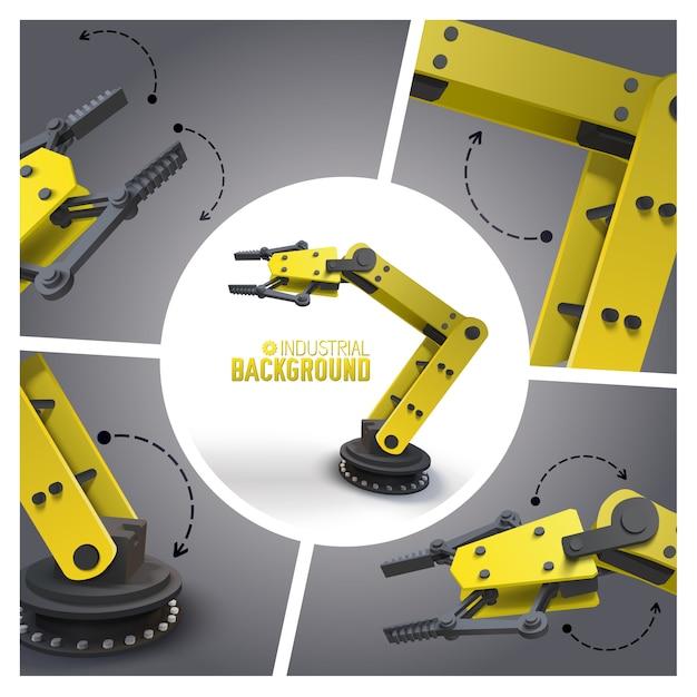 Composição realista da indústria futurista com braços robóticos mecânicos amarelos e manipuladores Vetor grátis