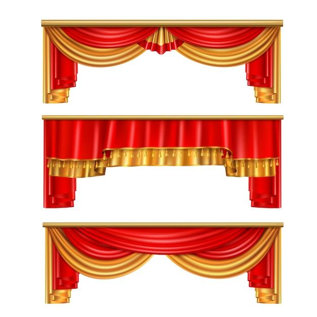 Composição realista de cortinas de luxo com cores vermelhas e douradas para ilustração interior de teatro Vetor grátis