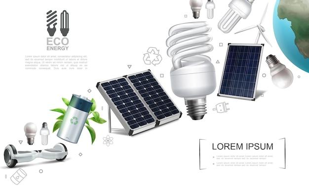 Composição realista de elementos de economia de energia com bateria de giroscópio lâmpadas elétricas painéis solares moinho de vento Vetor grátis