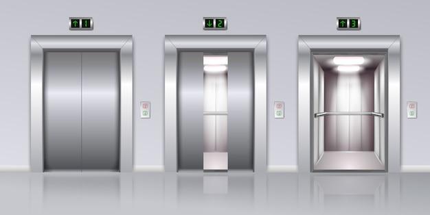 Composição realista de elevadores Vetor grátis