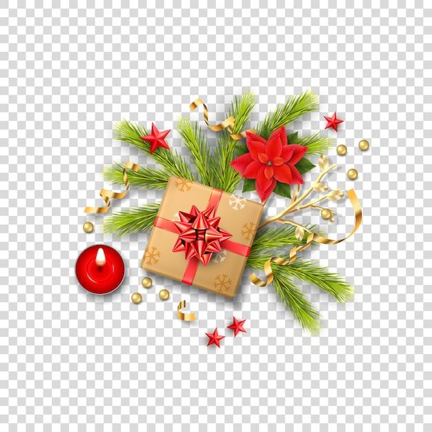 Composição realista de feliz natal com caixa de presente e decorações de natal Vetor Premium