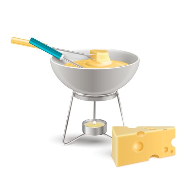 Composição realista de fondue de queijo Vetor grátis
