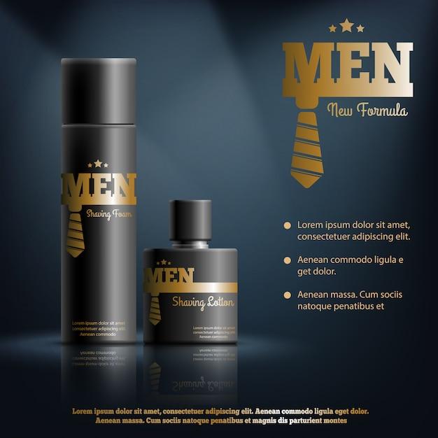 Composição realista de homens barbear cosméticos Vetor grátis