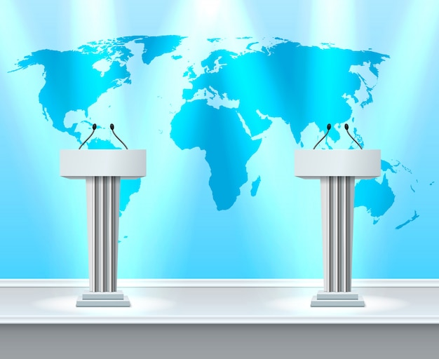 Composição realista do debate tribune Vetor grátis