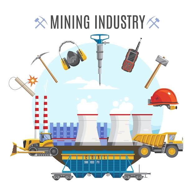 Composição redonda da indústria de mineração Vetor grátis