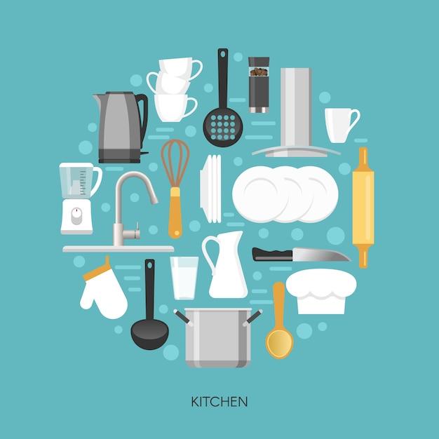 Composição redonda de cozinha Vetor grátis