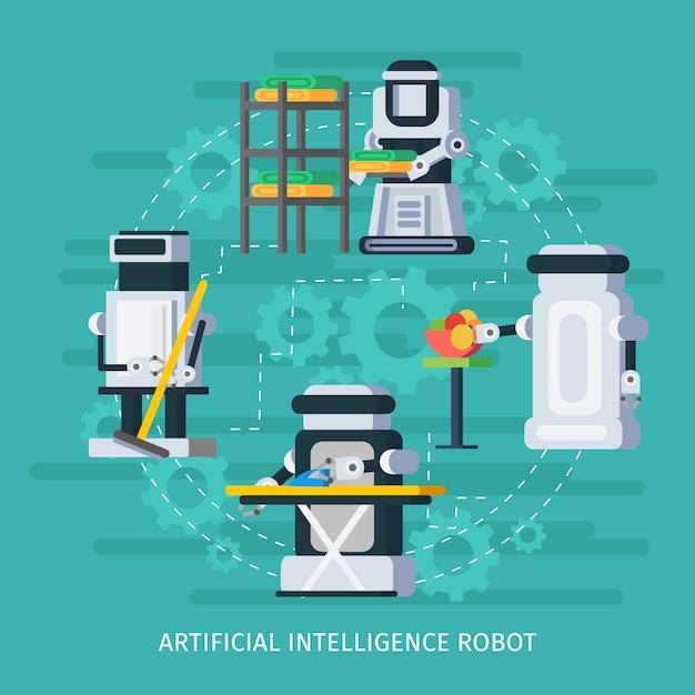 Composição redonda de inteligência artificial Vetor grátis
