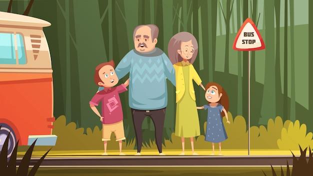 Composição retro dos desenhos animados da família com os avós e os netos que esperam o transporte na ilustração exterior lisa do vetor da parada de ônibus Vetor grátis