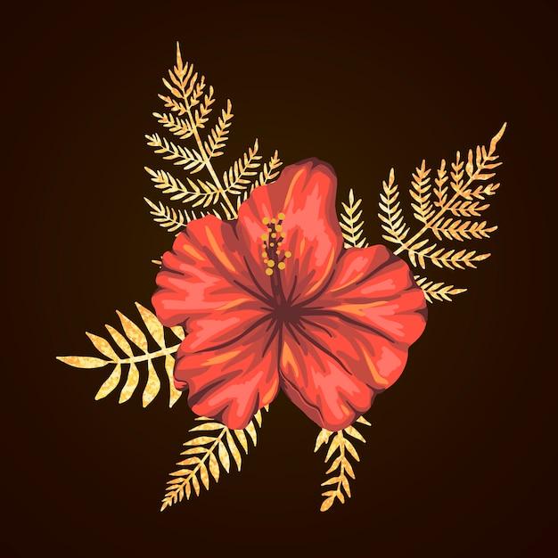Composição tropical de flores de hibisco com folhas douradas texturizadas. elementos de design exótico brilhante estilo aquarela realista. Vetor Premium