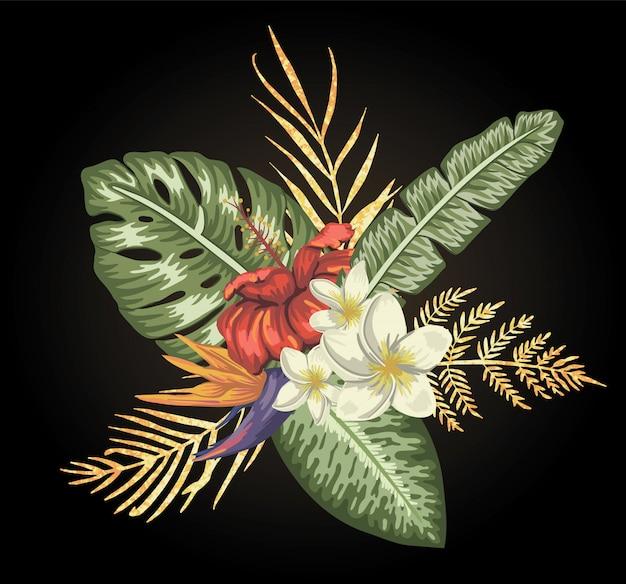 Composição tropical de flores de hibisco, plumeria e strelitzia com folhas douradas de textura isoladas. elementos de design exótico brilhante estilo aquarela realista. Vetor Premium
