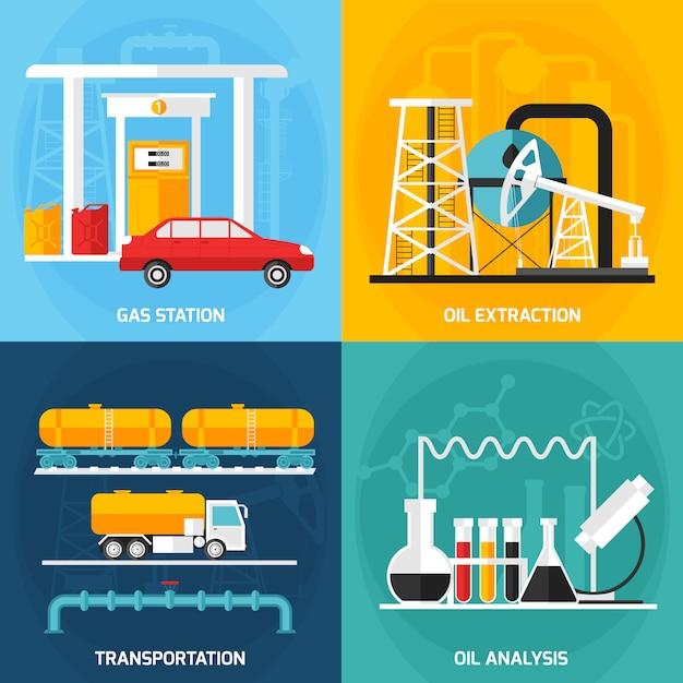Composições da indústria de gás de petróleo Vetor grátis