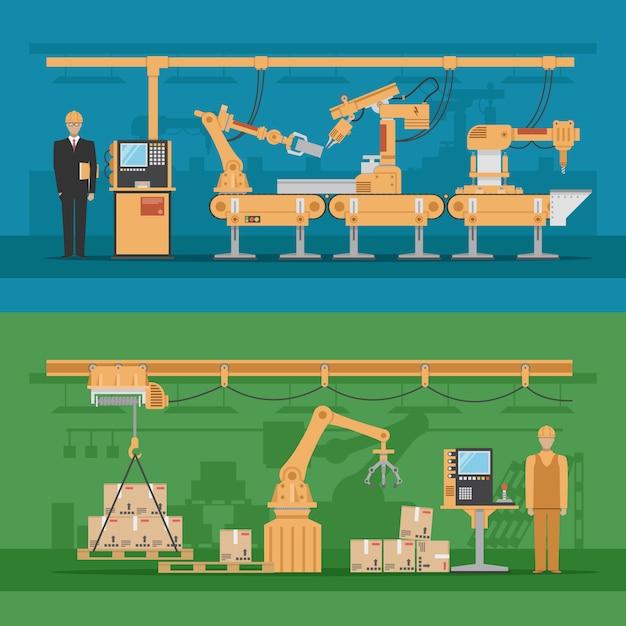 Composições de montagem automatizadas com processo de produção e armazém robótico Vetor grátis