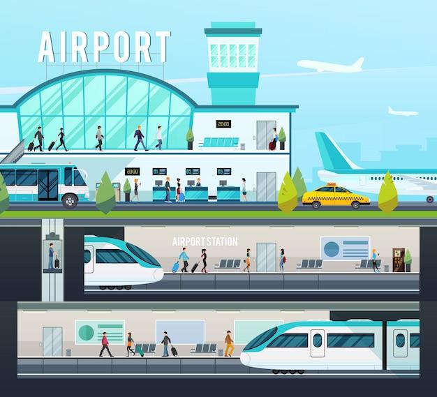 Composições do terminal de transporte Vetor grátis