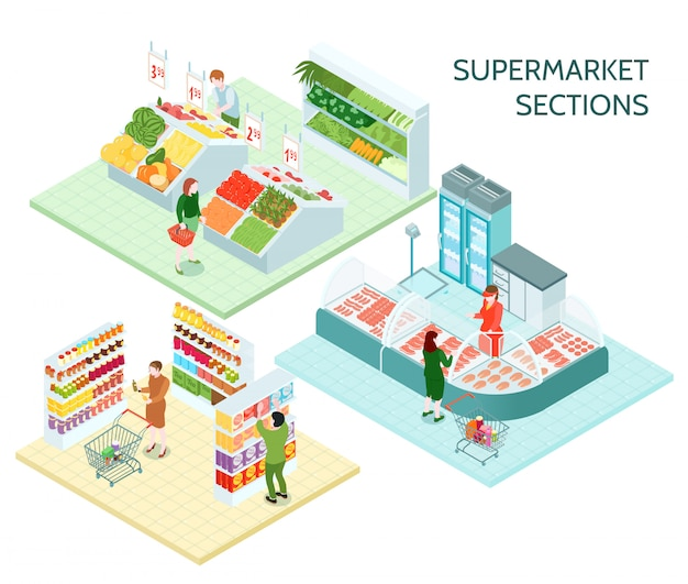 Composições isométricas de seções de supermercado Vetor grátis