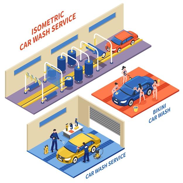 Composições isométricas do serviço da lavagem de carros Vetor grátis