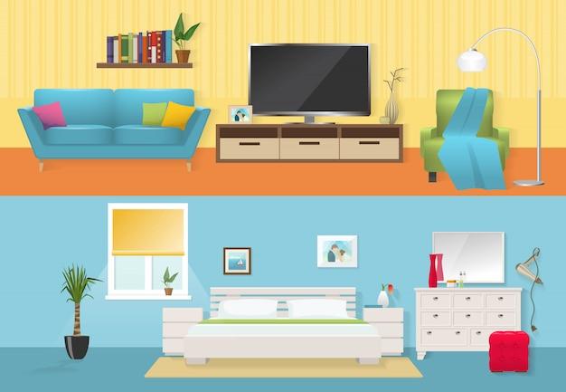 Composições planas de interiores com mobiliário confortável no salão e quarto em ilustração vetorial de cores brancas azuis isoladas Vetor grátis