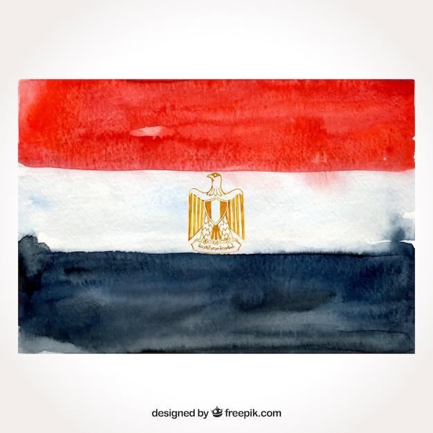 Compositio de bandeira egípcia em aquarela Vetor grátis