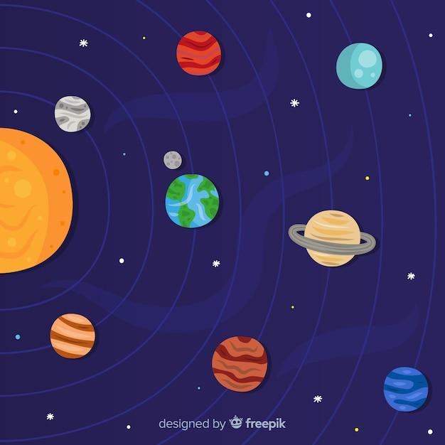 Compositio do sistema solar desenhada mão clássico Vetor grátis