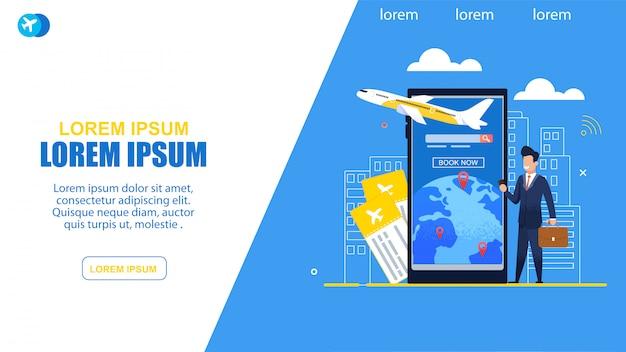 Compra de serviço de bilhetes on-line plana ilustração Vetor Premium