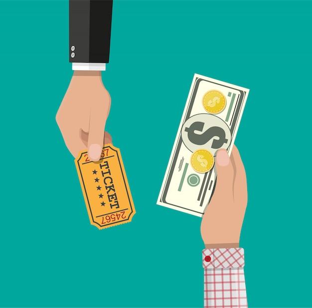 Compra e venda de ingressos Vetor Premium