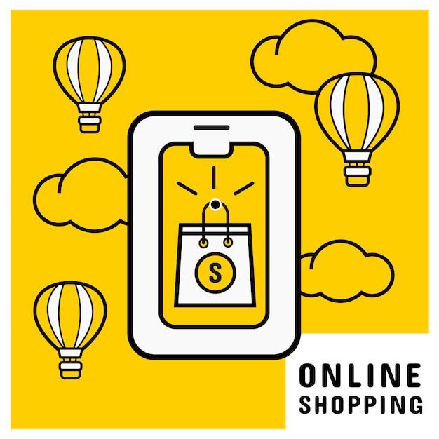 Compra on-line no celular com sacola de compras on-line Vetor Premium